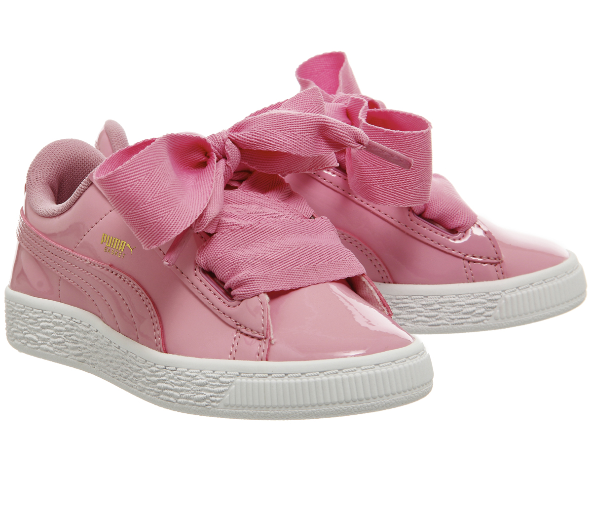 0711c36d Details about Kids Puma Basket Heart Ps Prism Pink Patent Kids