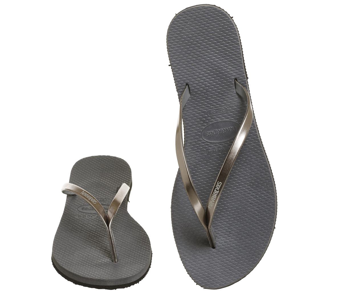 1f4668dabd84b4 Womens Havaianas Slim You Metallic Flip Flops Steel Grey Sandals
