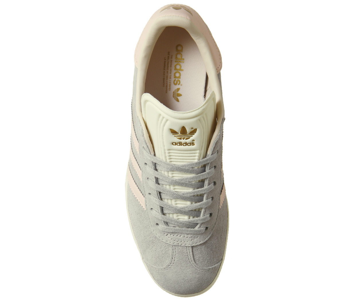 e91272866c26 Womens Adidas Gazelle Trainers Grey Two Icey Pink Cream White ...