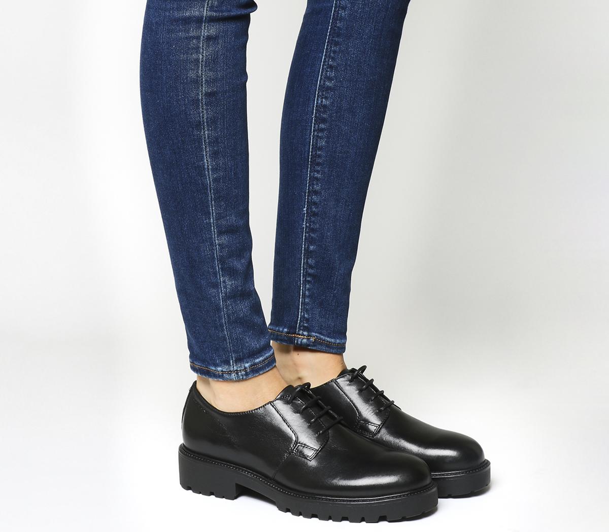 ad5bda99832 SENTINELLE Womens Vagabond Kenova dentelle Chaussures en cuir noir Flats