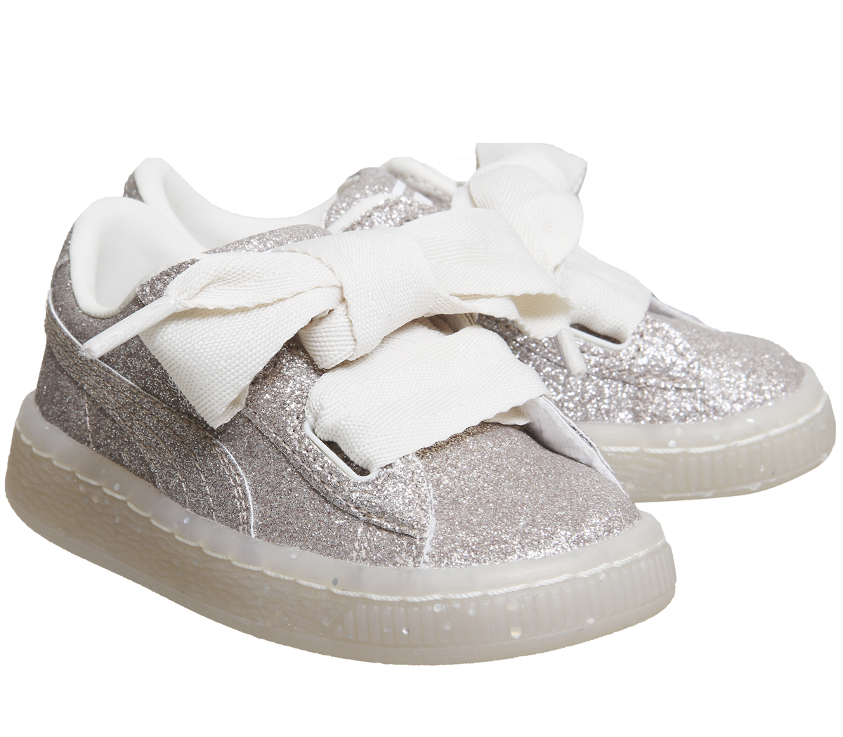 newest 2e26e 976f1 Details about Kids Puma Basket Heart Inf Eggnog Glitter Exclusive Kids