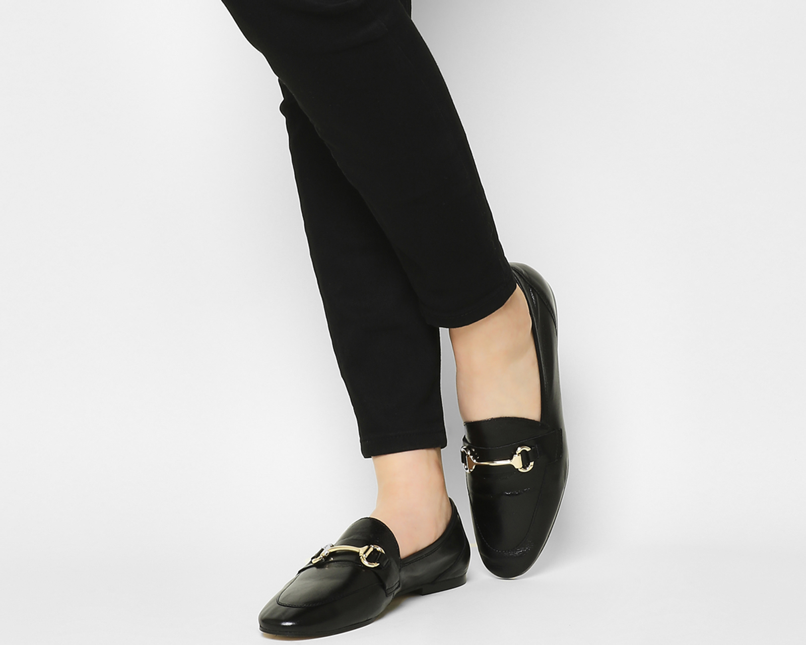 Sentinel Womens Office Destiny Trim Loafers Black Leather 2 Flats