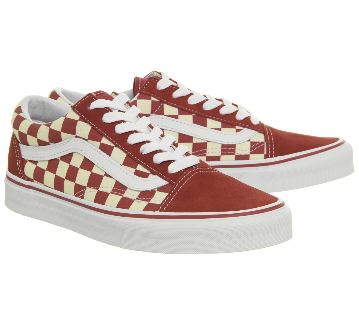 Da Uomo Vans Old Skool Sneaker Scarpe Da Ginnastica Da Corsa Rosso Classico Bianco a Scacchiera Scarpe Da Ginnastica Scarpa