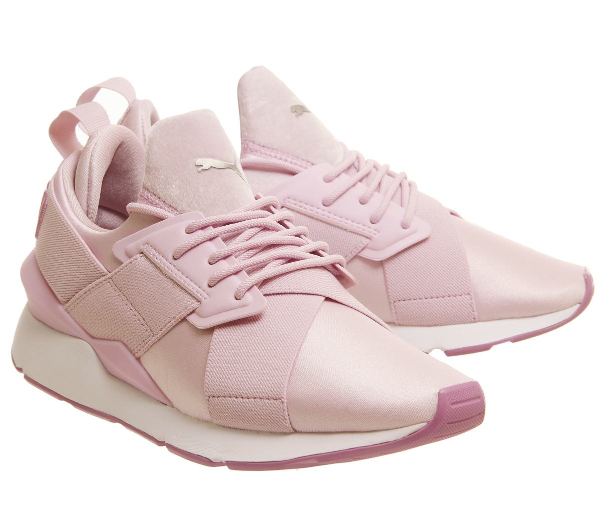 Wo Wo Wo Hommes Puma Puma Muse Xstrap Trainers rose blanc  Trainers Chaussures eb6f17