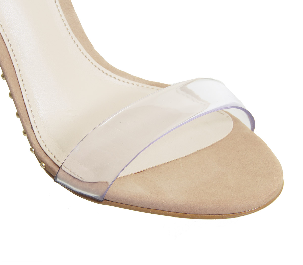 Womens Office Horoscope Sandals Clear Strap Studded Sandals Horoscope NUDE Heels a5cd65