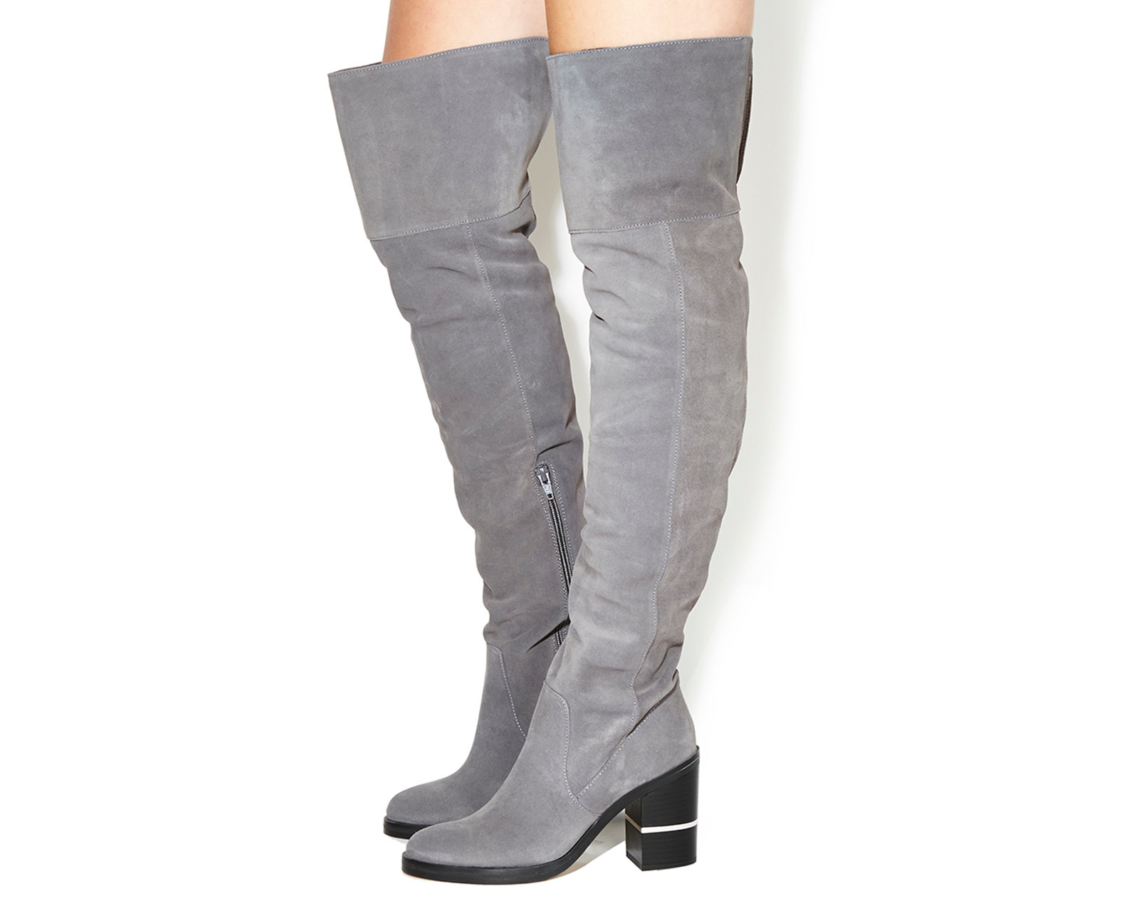 Sentinel Womens Office Elemental Over The Knee Boots Grey Suede Ex Display