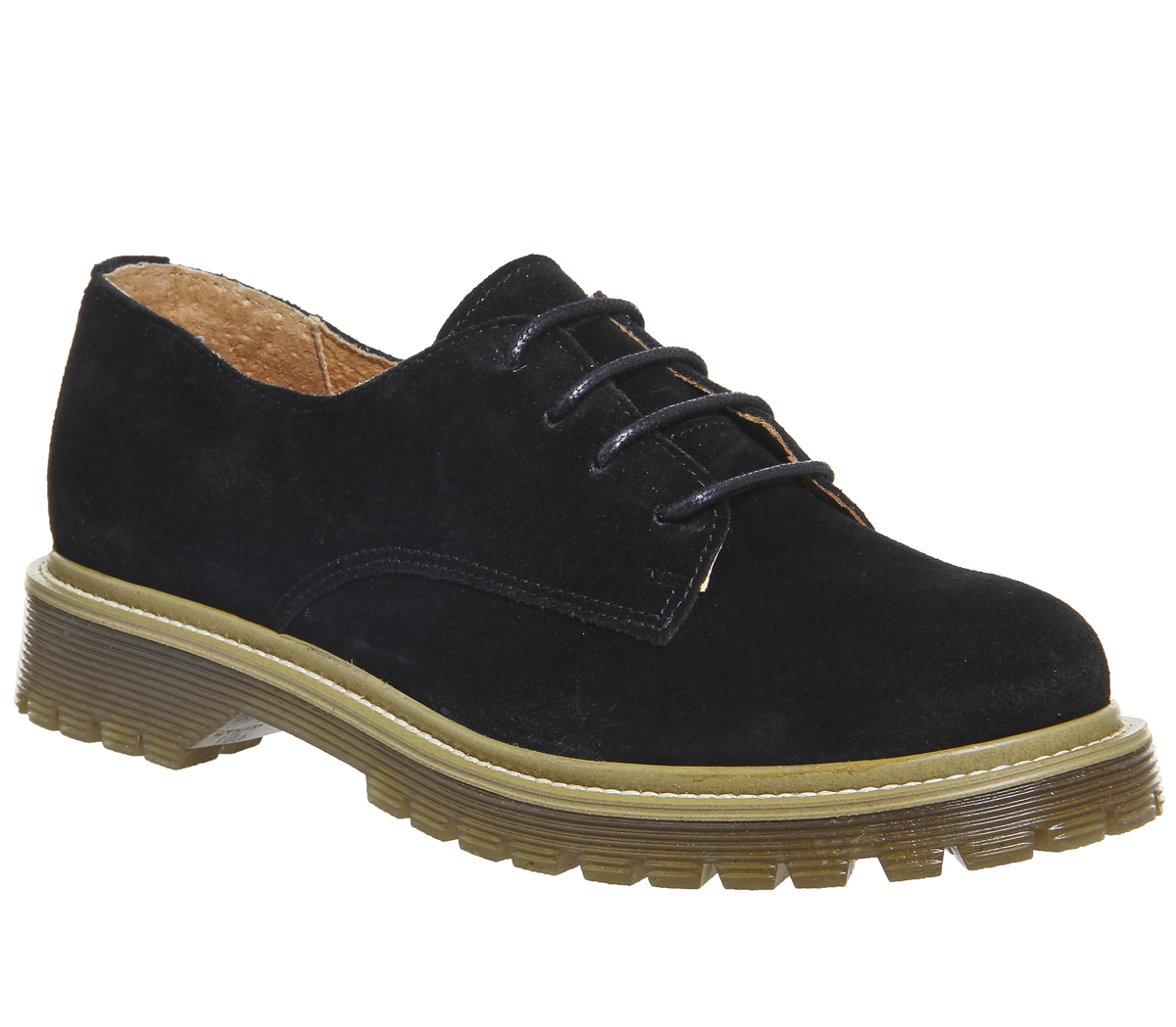 Womens Office Force Lace Up Flats BLACK SUEDE Flats