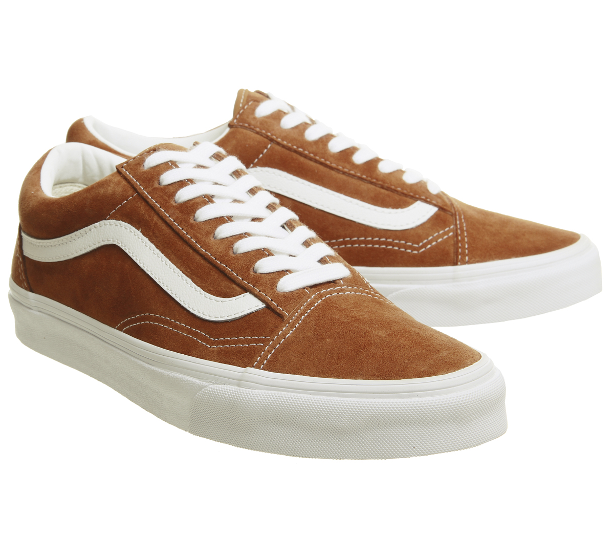 40de042e236774 Mens Vans Old Skool Trainers Leather Brown True White Trainers Shoes ...