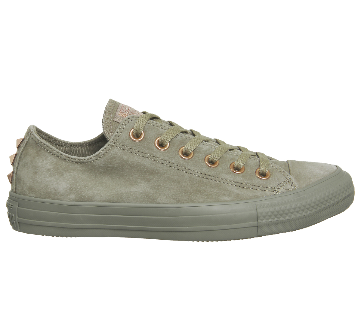 Womens Converse All Star Low Leather KHAKI STUD EXCLUSIVE Trainers Shoes Picture 2 of 6 Picture 3 of 6