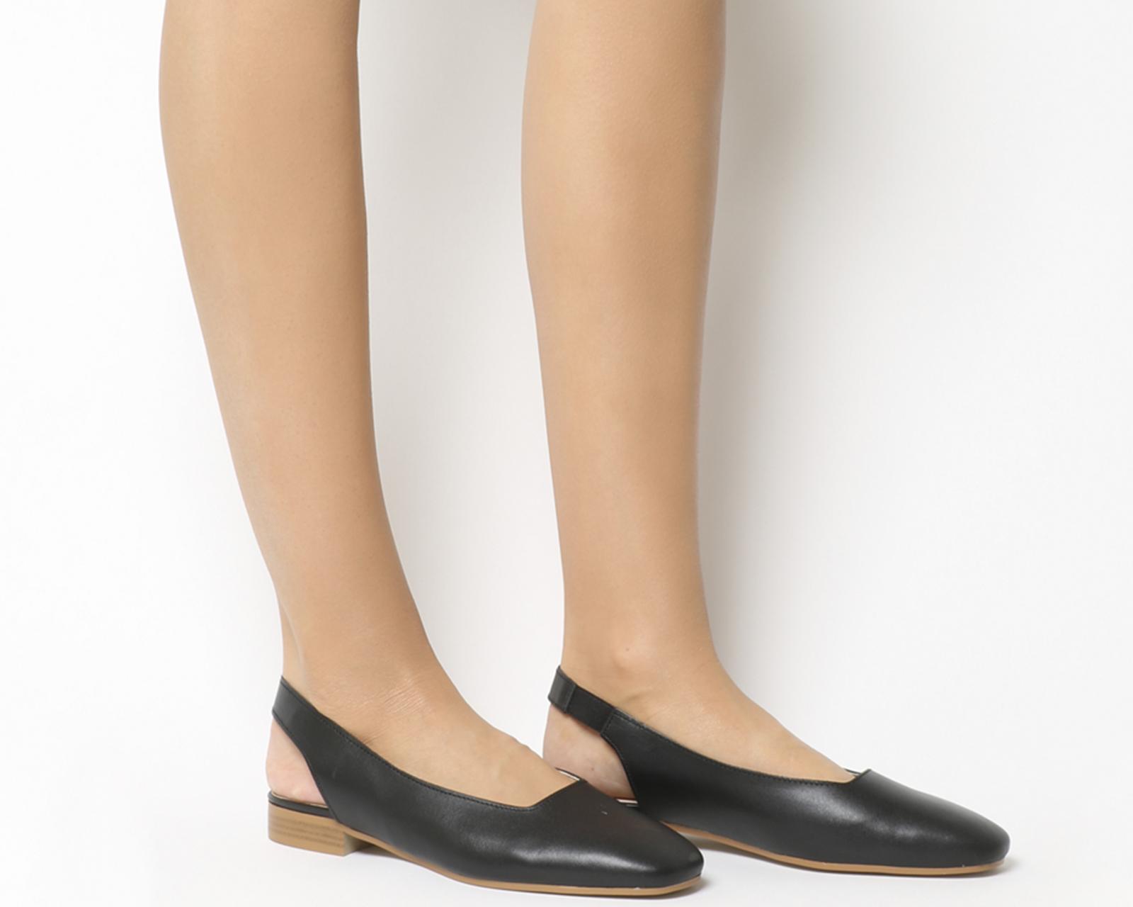 scarpe da ginnastica a buon mercato 69358 a5b56 Dettagli su Da Donna Ufficio Punta Quadrata Fluke ALL. dietro Ballerine  Scarpe Basse in Pelle Nera- mostra il titolo originale