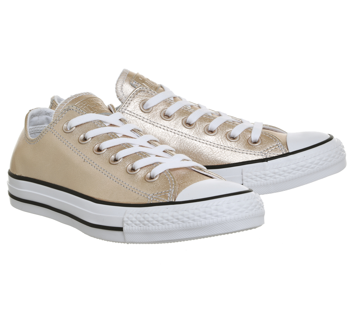 bce0838cc3bfac Sentinel Womens Converse All Star Low Leather Trainers Blush Gold Trainers  Shoes