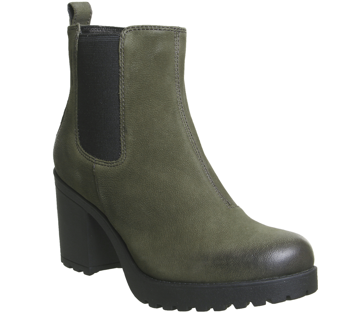 4a460f668 Sentinel Womens Vagabond Grace Heeled Chelsea Boots Dark Olive Nubuck Boots