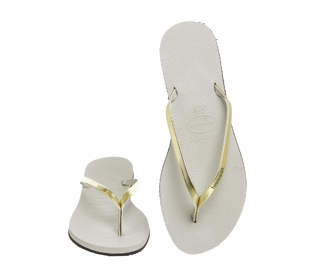 49cf112c3b6a Sentinel Womens Havaianas Slim You Metallic Flip Flop Sand Grey Light Gold  Sandals