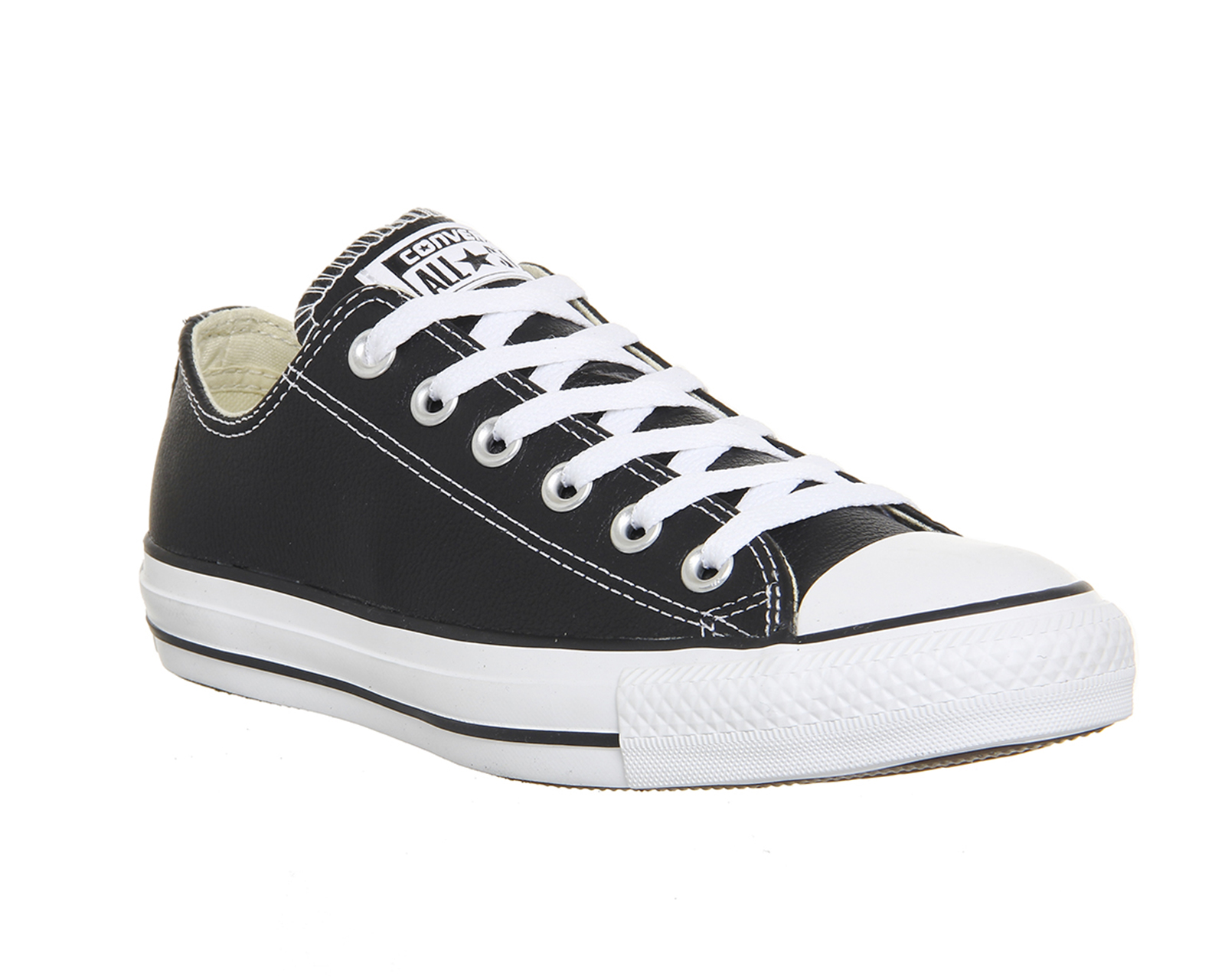 c3f8a1480fac Sentinel Womens Converse All Star Low Leather Black White Leather Trainers  Shoes