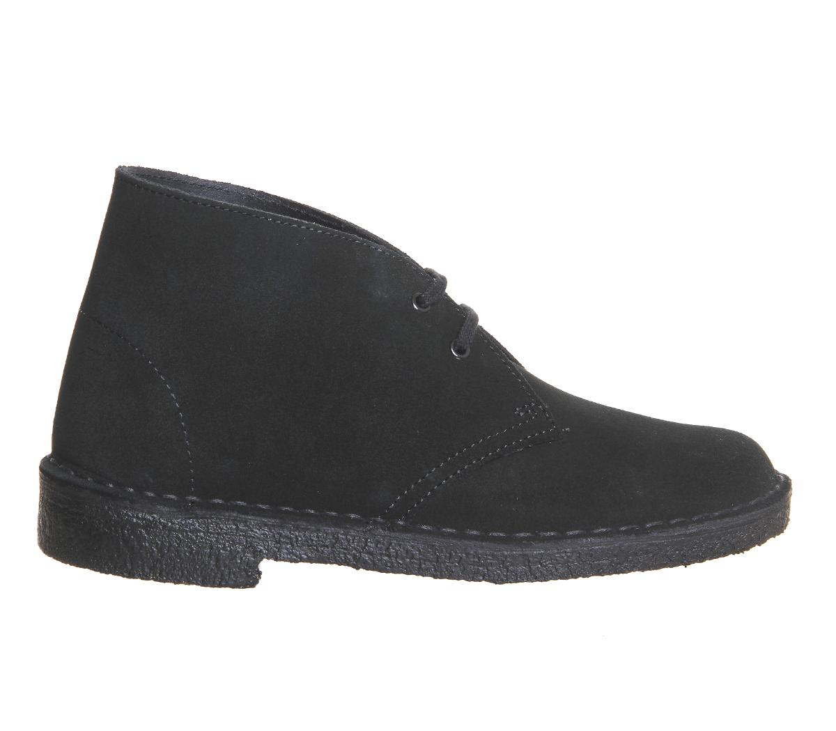 chaussures femme clarks originals desert boots en daim noir bottes ebay. Black Bedroom Furniture Sets. Home Design Ideas
