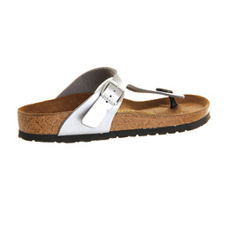 7986e1d27059 Womens Birkenstock Gizeh Toe Thong Footbed Silver Syn Sandals