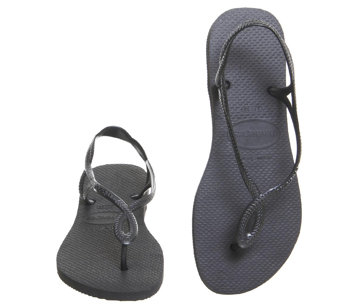 9245ff6f77a Womens Havaianas Luna Flip Flops Black Sandals