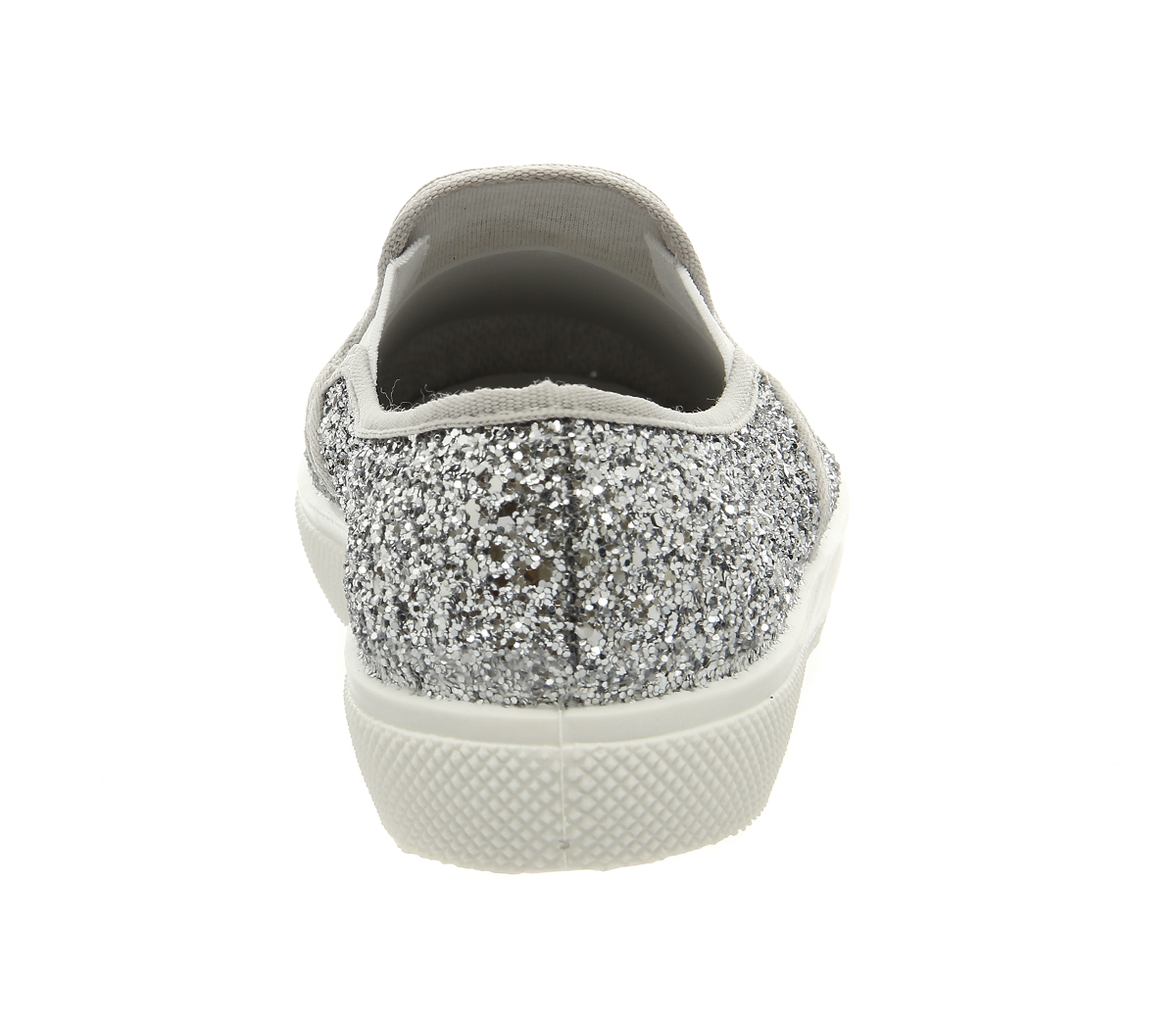 bedafb0a7d6fff Womens Office Kicker Slip On Shoes Silver Glitter Flats