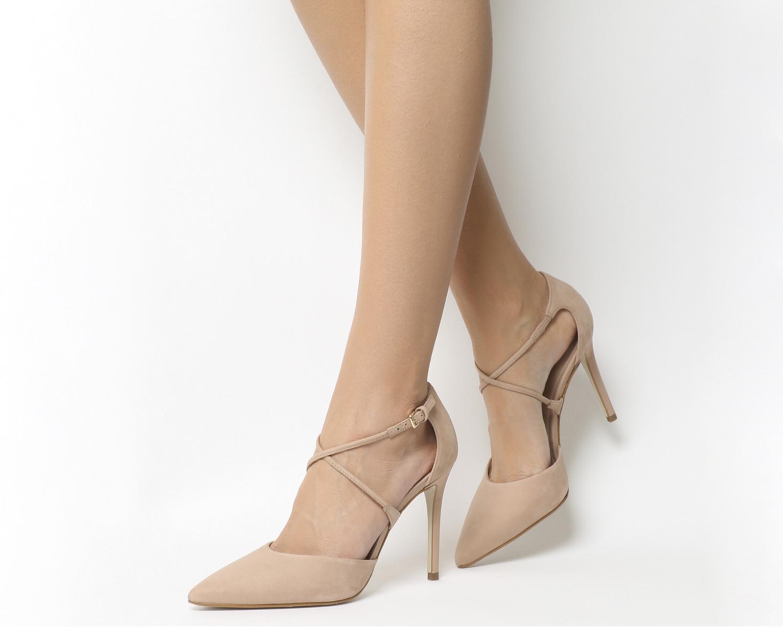 b0d390effe1 Sentinel Womens Office Harvey Cross Pattern Point Heels Nude Nubuck Heels