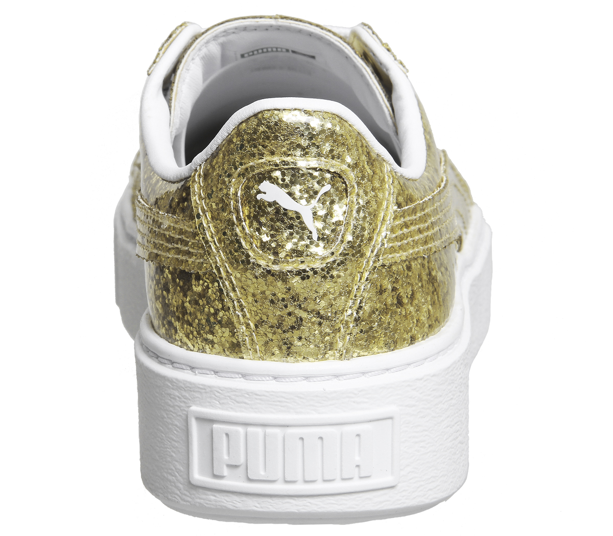 66968c3bb Womens Puma Basket Platform Trainers Gold Glitter White Trainers ...