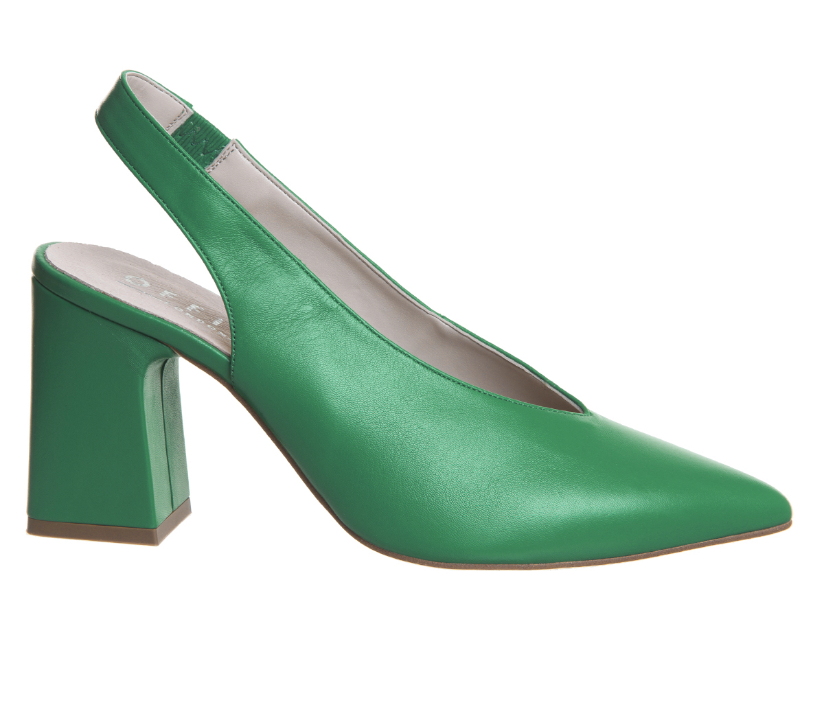 Damenschuhe Office Mimi JADE Chunky Slingback Heels JADE Mimi GREEN LEATHER Heels d3549b
