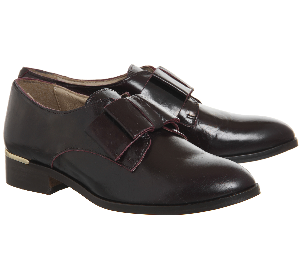 Womens Office Flexa Slip On With Bow Bow Bow Flats Burgundy Groucho Leather With Heel Cl 4ea399
