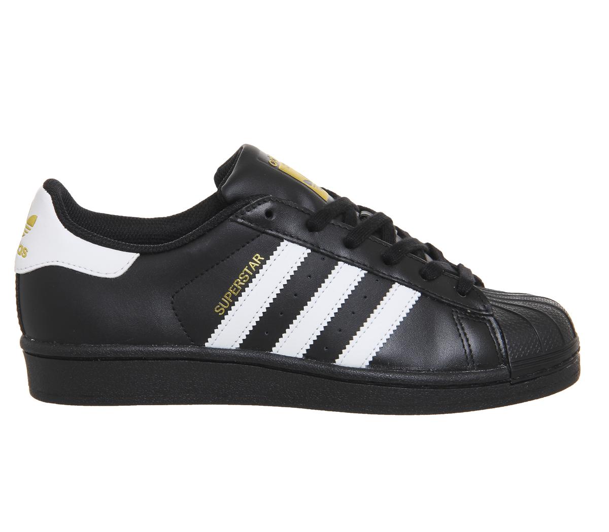 mujer adidas superstar negro blanco zapatos entrenadores de