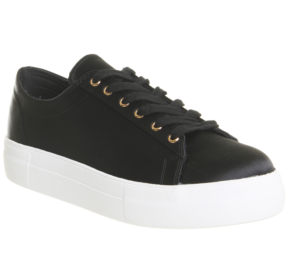 Damen Office Flicker Satin Lace Up Trainers Schwarz Schwarz SATIN Flache Schuhe