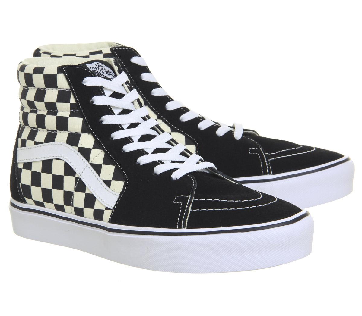 Vans Sk8 Hi Lite Negro Blanco Zapatos tenis de tablero de ajedrez  6a4b79f141f64