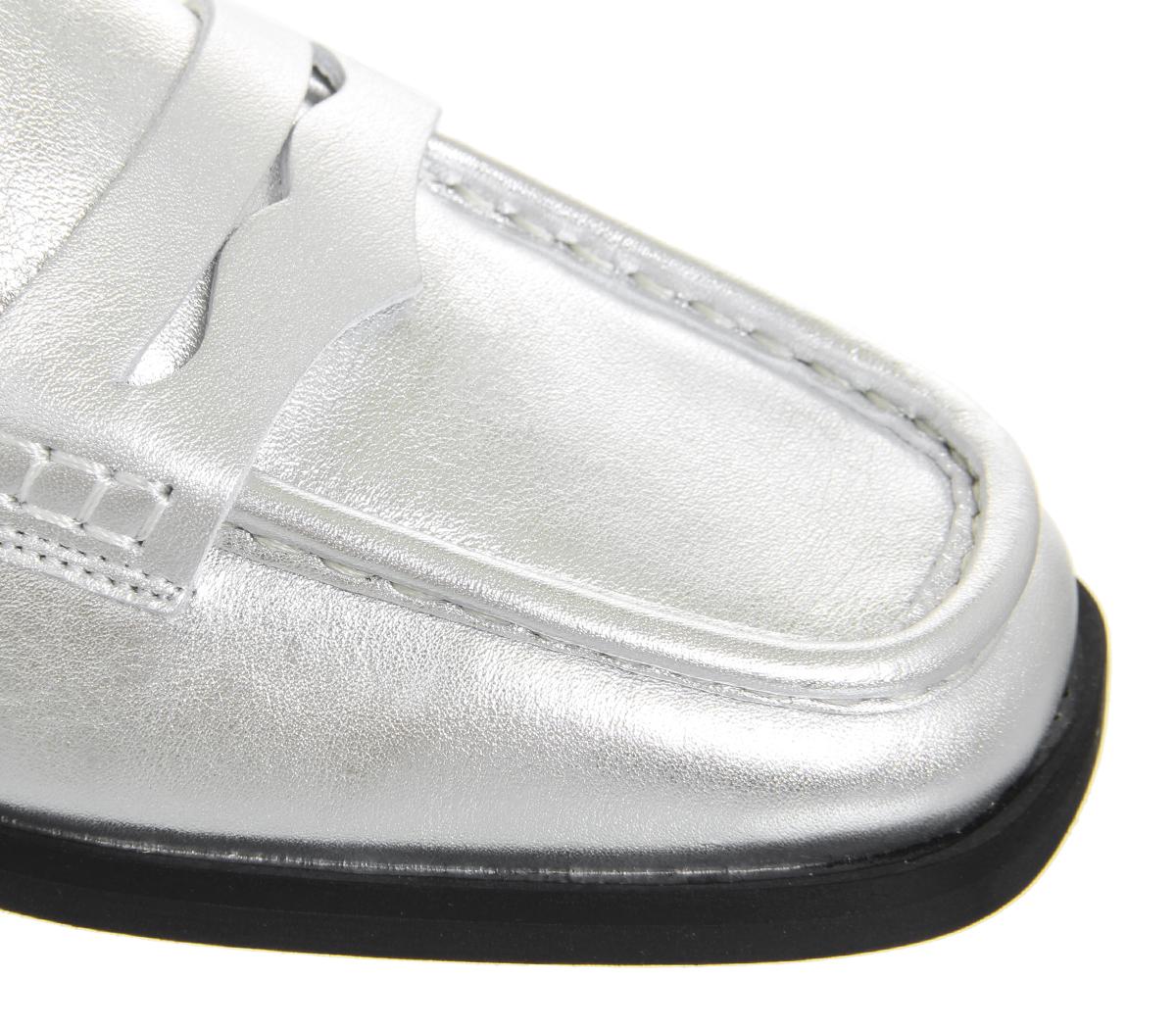 Damenschuhe Toe Office Fashion Show Square Toe Damenschuhe Loafers SILVER LEATHER Flats 646603