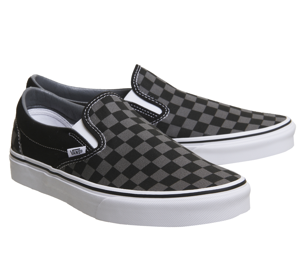 d2033f4835 Mens Vans Vans Classic Slip On Trainers Black Pewter Check Trainers ...