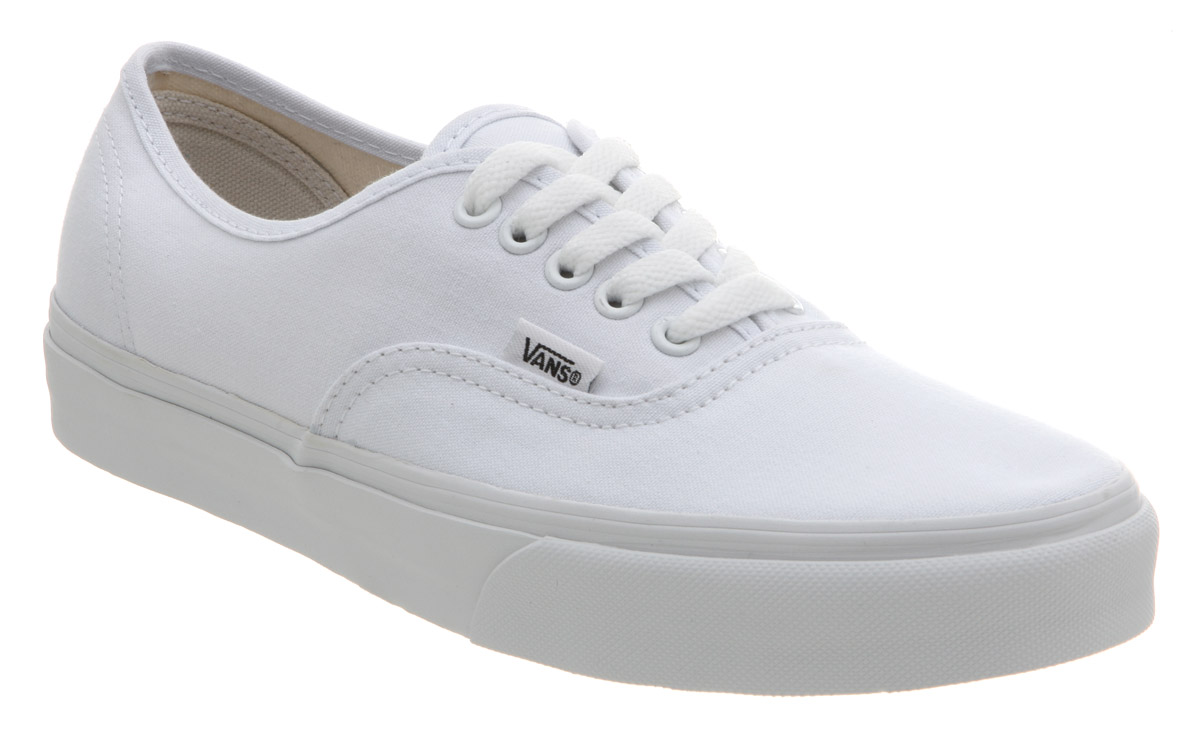 Mens Vans Authentic TRUE WHITE Trainers Shoes