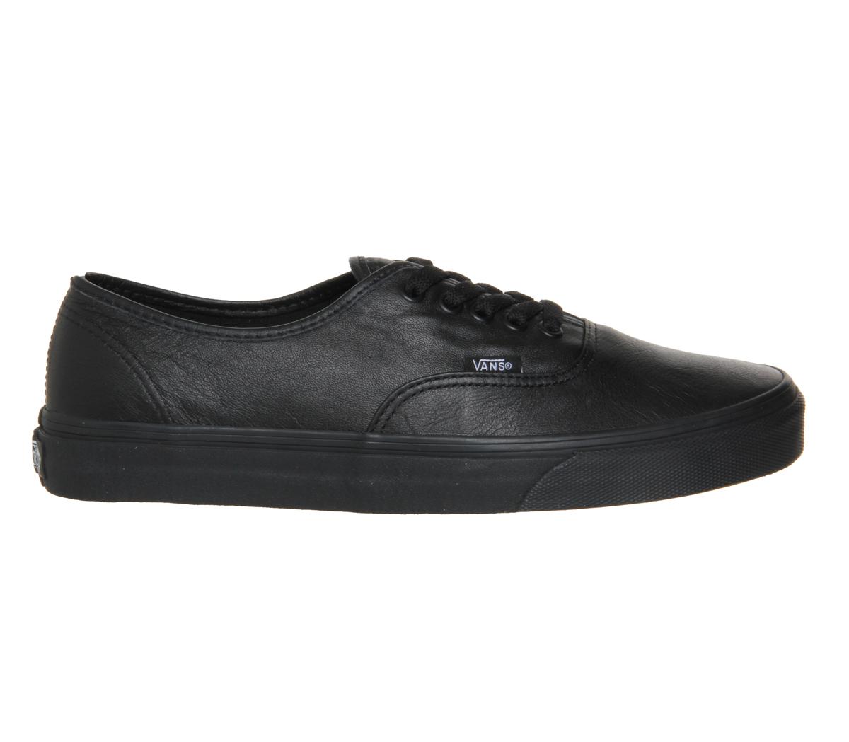 vans authentic black leather mono