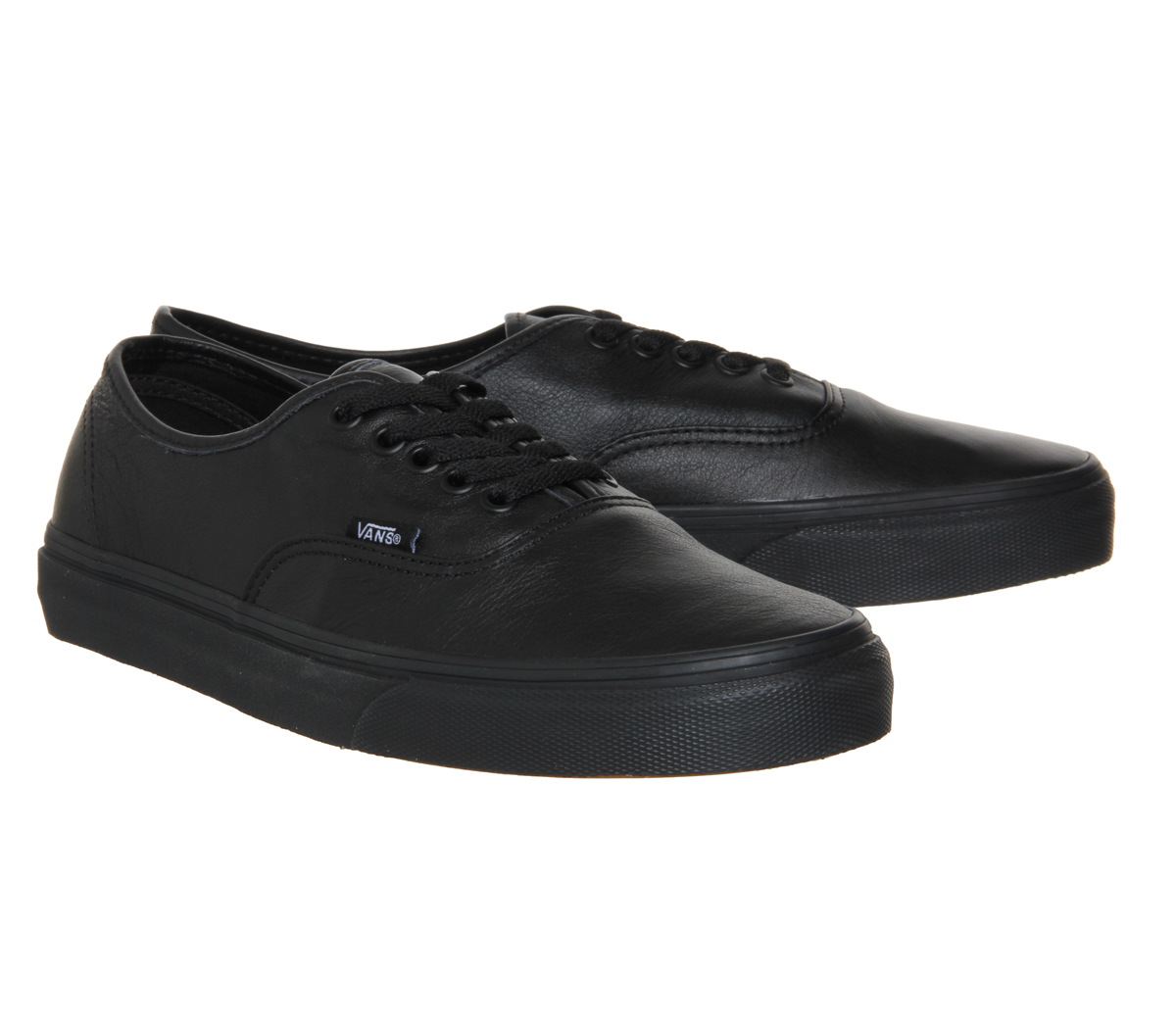 leather vans all black
