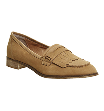 Damenschuhe Town Office Down Town Damenschuhe Fringe Loafers TAN NUBUCK Flats d15909