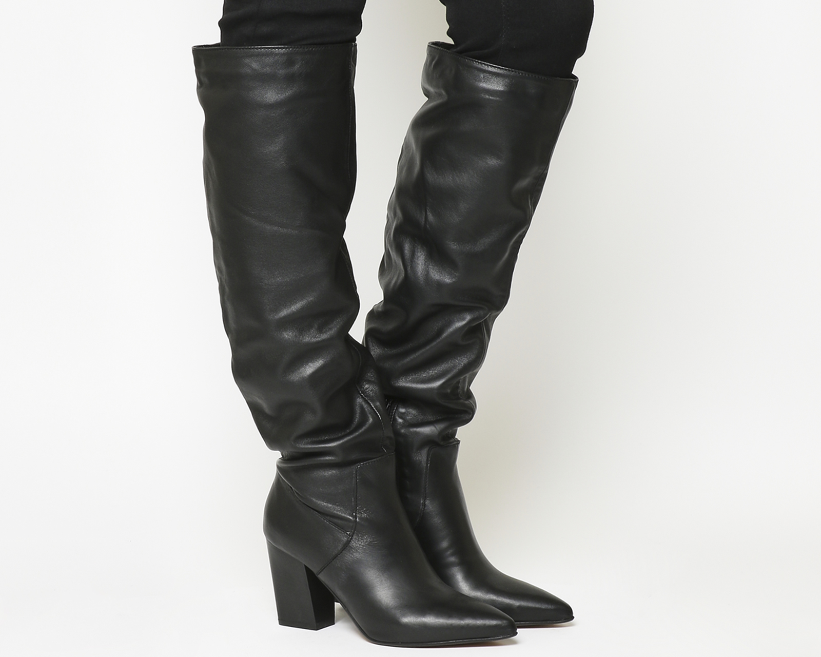 22e86cfb386 Sentinel Womens Office Kola Slouch Suede Knee Boots BLACK LEATHER Boots