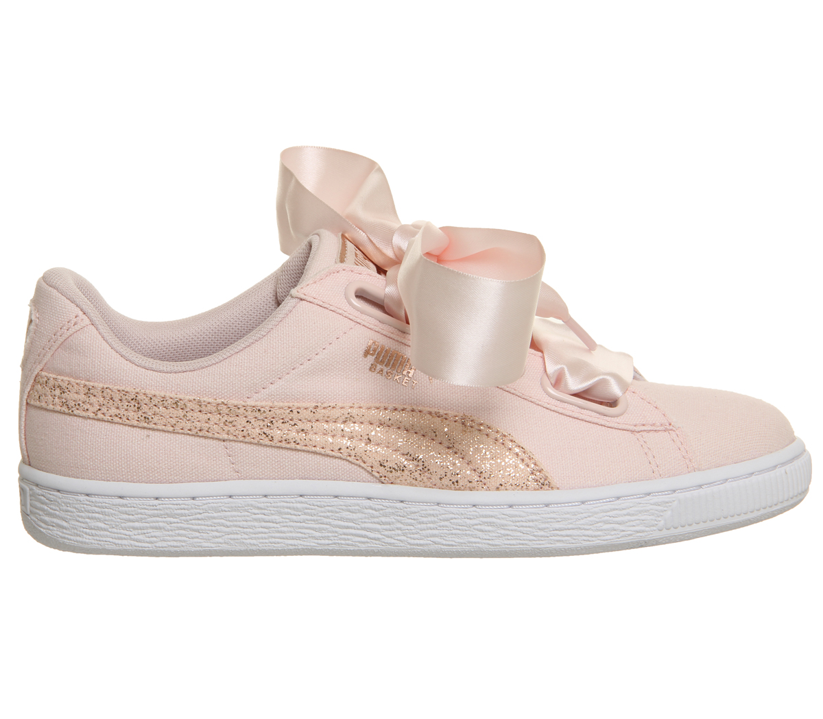 4745de5f687053 Sentinel Womens Puma Basket Heart Canvas Trainers Pearl Puma White Rose  Gold Trainers Sho