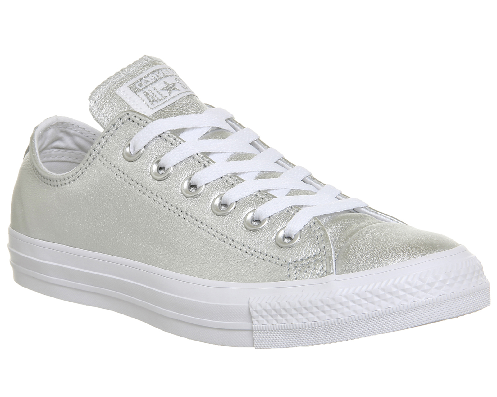 d625002a041f Sentinel Womens Converse All Star Low Leather Pure Silver White Trainers  Shoes