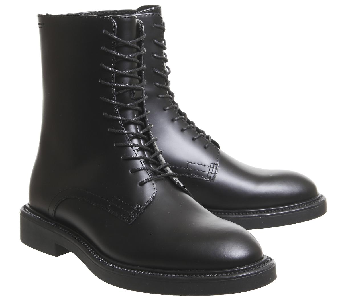 6762b4d350d Details about Womens Vagabond Alex Lace Boots Hi Black Polished Leather  Boots