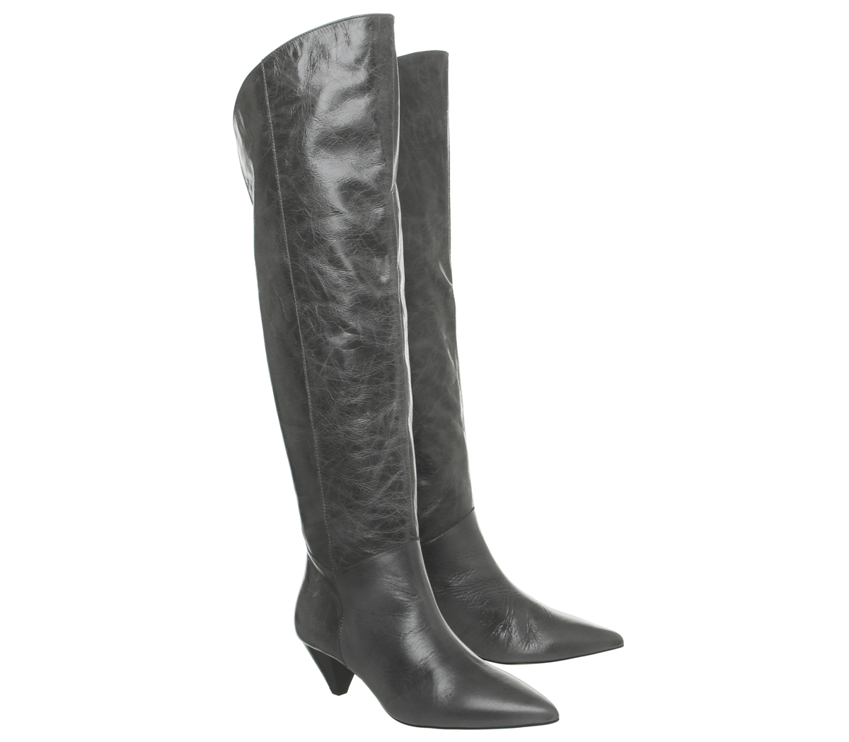 Heel Womens Knee Dark Kimono Boots Leather Cone Grey Office qrwnUIrBt