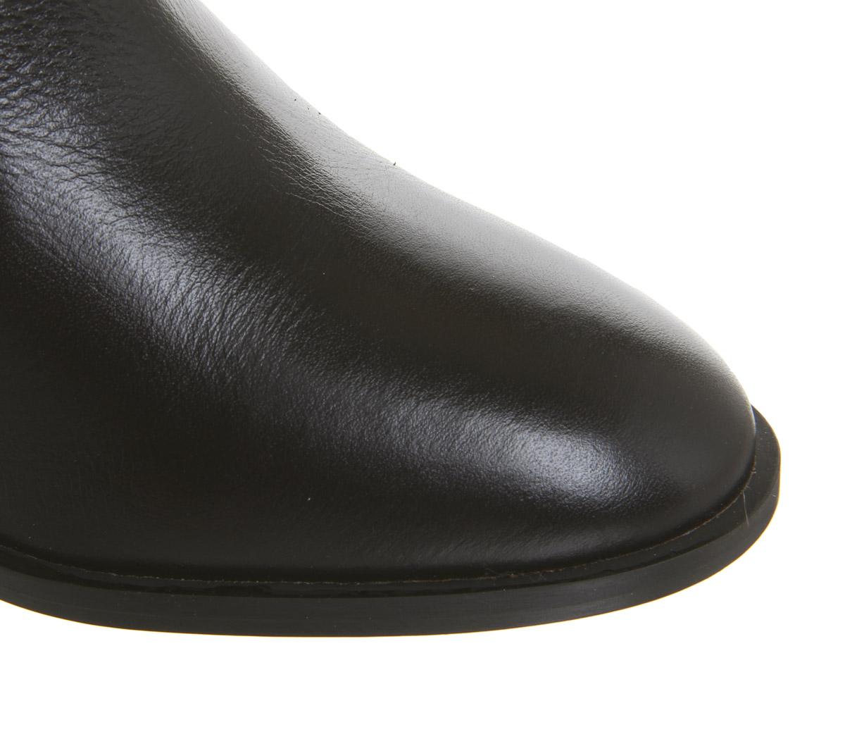 Damenschuhe Leder Office Alford Unlined Block Heel Stiefel Choc Leder Damenschuhe Stiefel 694304