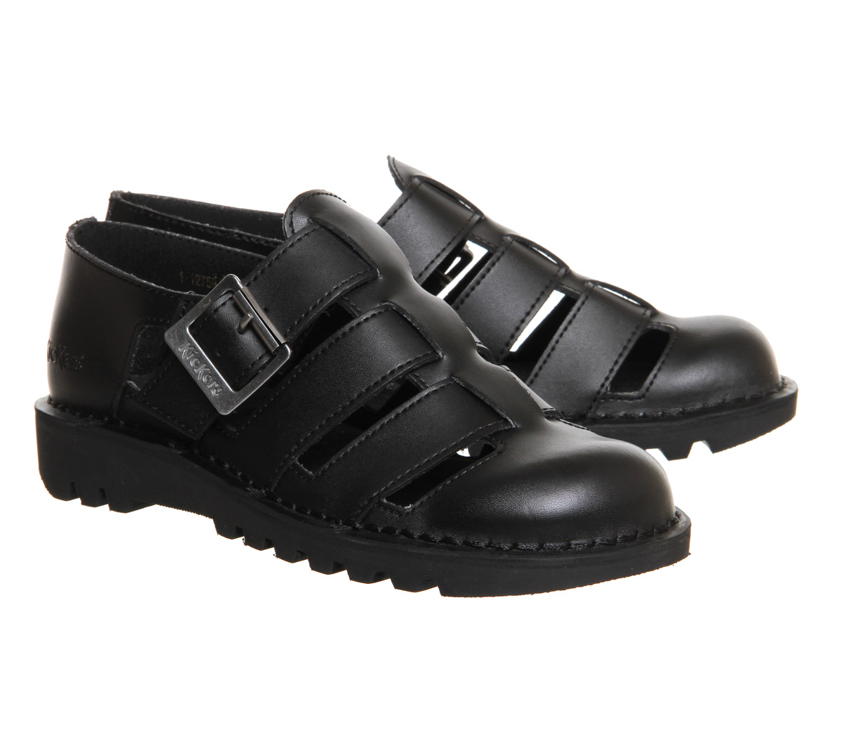 d34ba007a37 Sentinel Womens Kickers Kick Low Weave Black Leather Flats