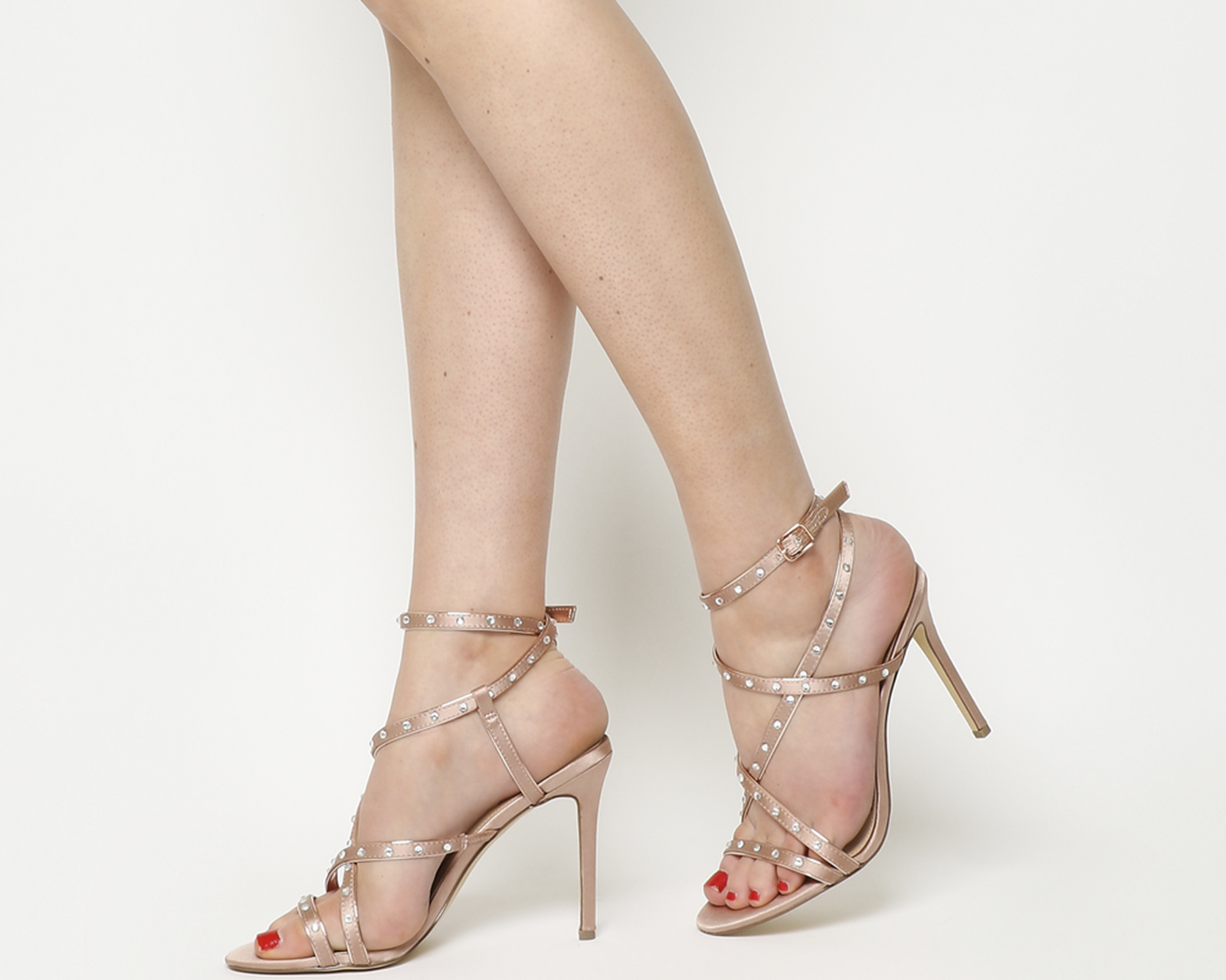 c103ae8911 Sentinel Womens Office Hugo Strappy Sandals Nude With Gems Heels