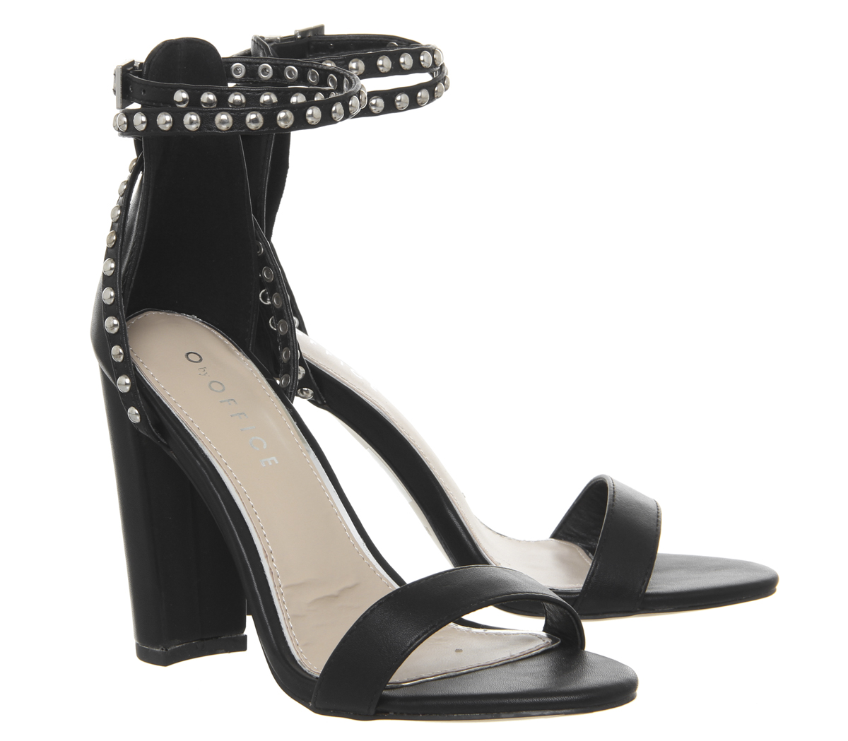 Damenschuhe Office BLACK Haylee Stud Strap Block Heels BLACK Office WITH SILVER STUDS Heels c7ecce