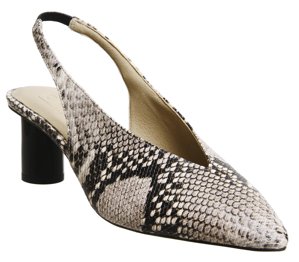 Damenschuhe Office Mischief Pointed Heels NATURAL SNAKE BLACK SPRAY HEEL Heels Heels HEEL 9ab495
