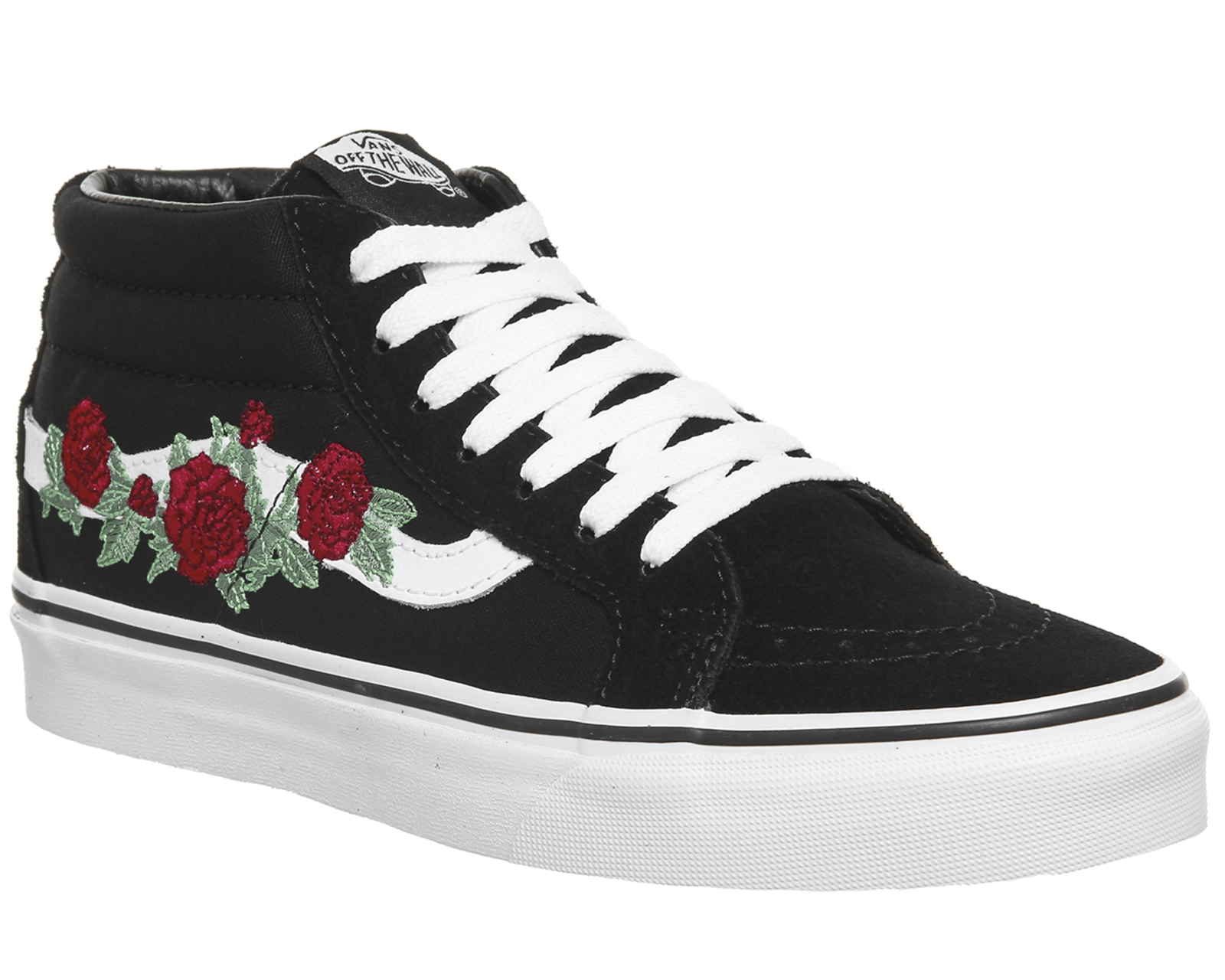 ce600bdd3f6a Sentinel Womens Vans Sk8 Mid Trainers BLACK RED ROSE Trainers Shoes