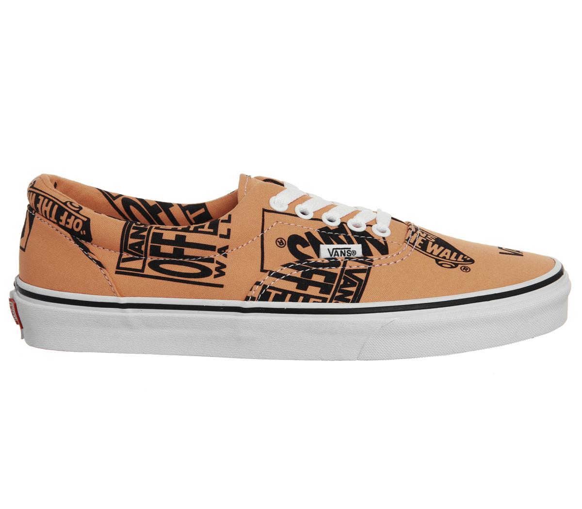 Mens Vans Era Trainers Tangerine Black Logo Trainers Shoes  514be0d7c0