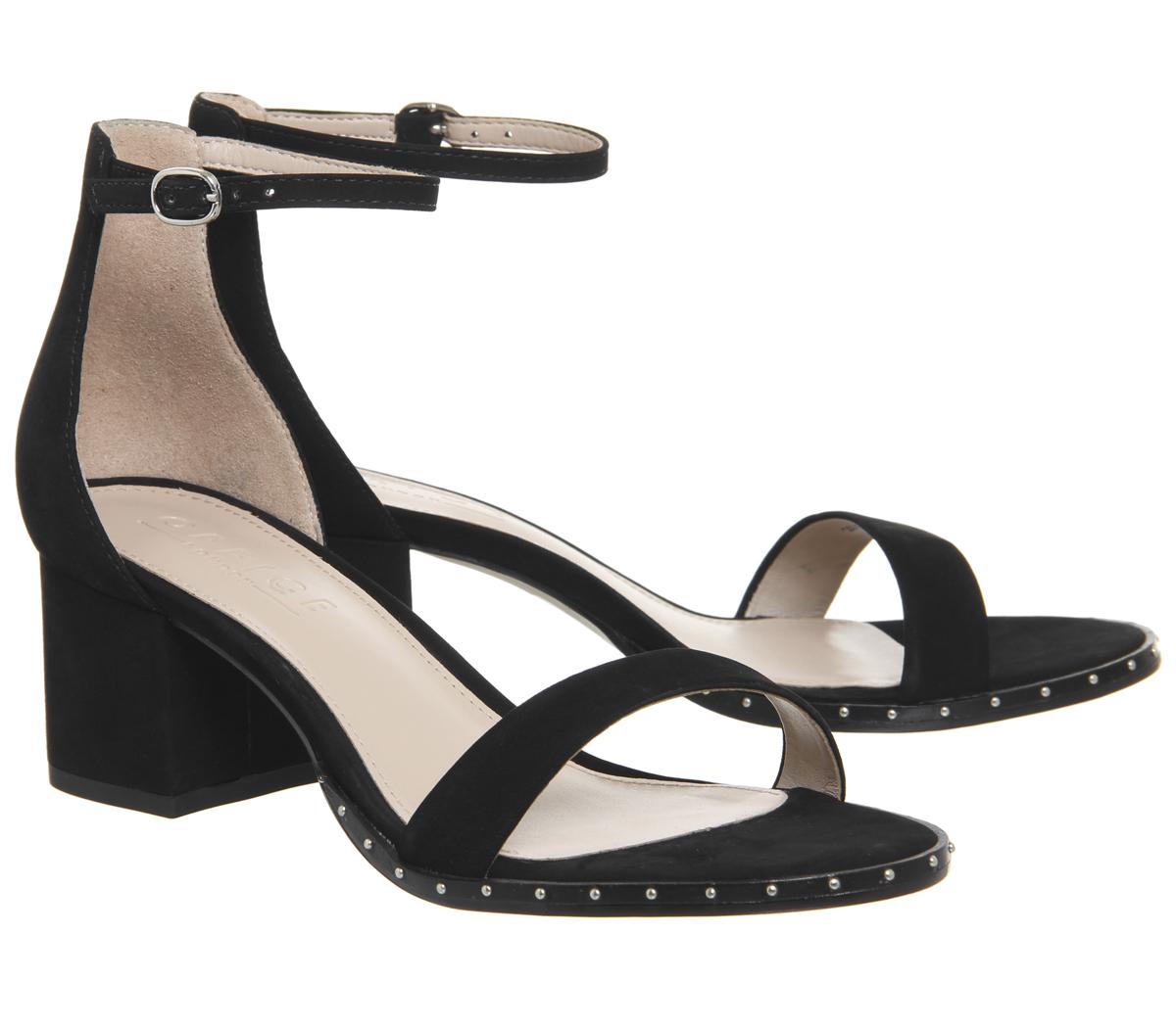 0ec7bc050600 Womens Office Finley Block Heel Sandals BLACK NUBUCK STUDDED RAND ...