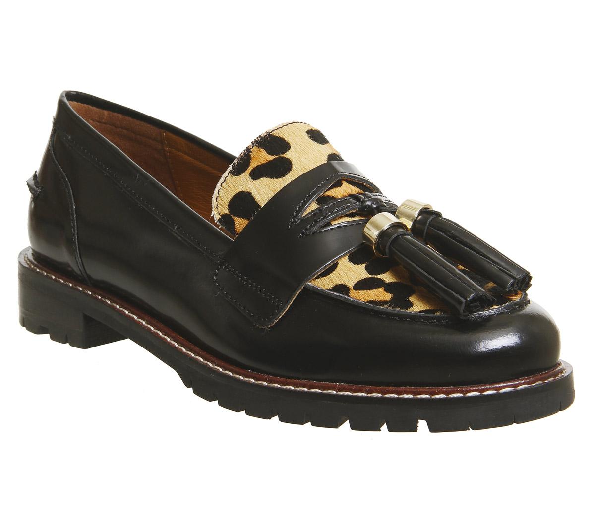 16e22f26db5 Womens Office Flashlight Tassel Loafers Black Box Leather Leopard ...