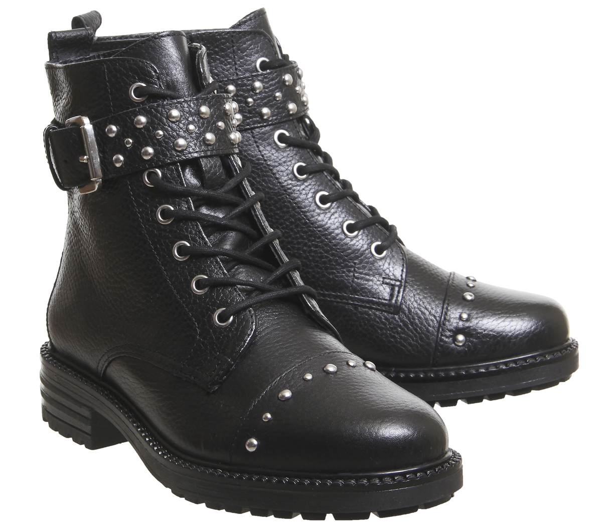 bee26f9f7ab Sentinel Womens Office Alpaca Stud Detail Lace Up Biker Boots Black Leather  Silver Studs